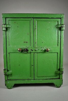 antique Safe Strong-Box toy size solid steel iron hasp lock Bradley Hubbard era