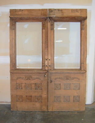 "Original Antique Quarter Sawn Oak Double Entry Door w/ Beveled Glass 36"" x 96"""