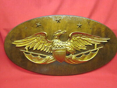 Vintage Turner Wall Accessory Eagle Mounted on Oval Wooden Wall Placque