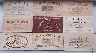 Lot De 9  Estampes  , Facades   Bois   Grands Crus