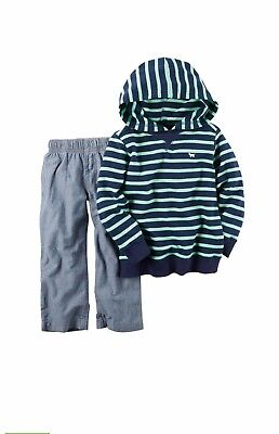 NWT Carter/'s Baby Boys Striped French Terry Hoodie /& Pants//Jogger Set