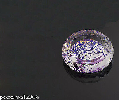 "Classic Polyhedral Shiny Crystal Glass Household Hotel Use Ashtray""Purple Tree"""