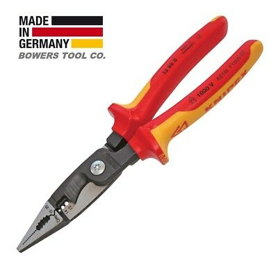"""Knipex 8"""" VDE Electrical Installation Pliers Insulated Long Nose Cut Strip 13888"""
