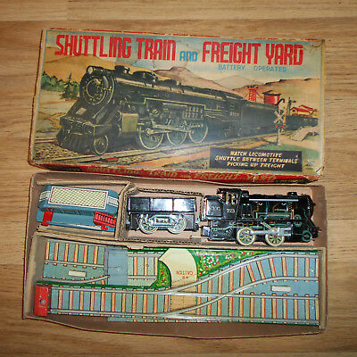 VINTAGE BATTERY OPERATED SHUTTLE TRAIN W/ LOAD & FREIGHT STATION by ALPS Co.