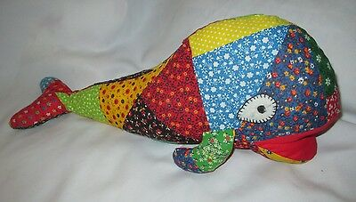 Stuffed Whale Quilted Pieced Handmade Vintage 60's Fabric, Free shipping