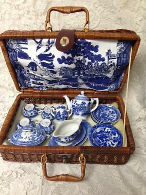 Vintage, Japan, Blue Willow, 22-pc Child's Tea Set with Wicker Picnic Basket