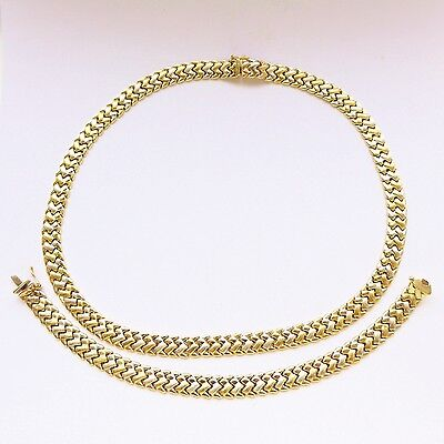 Vintage Estate Solid 9ct 9K Gold Braided Collar Necklace & Bracelet Set Heavy