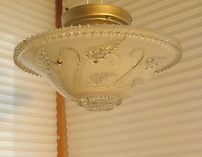 GLASS 1930s VINTAGE ART DECO ANTIQUE Ceiling Light Fixture CHANDELIER