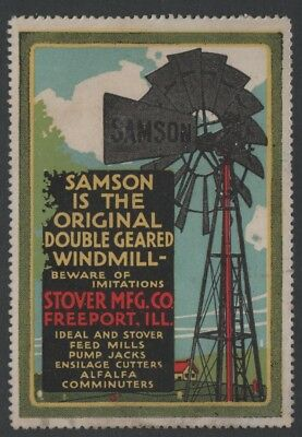 "Stover MFG. Co, Freeport IL - Samson Windmill"" - 1910s Poster Stamp NG"