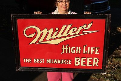 "Vintage 1940 Miller High Life Beer Tavern Gas Oil 41"" Embossed Metal Sign"