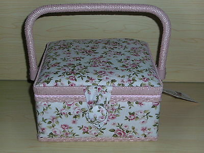 BNWT-Cream/Pink Dainty Rose Design Fabric-Small Square Sewing Box-Hobby Gift