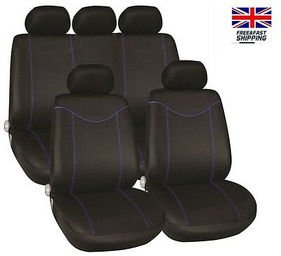Ford Fiesta St 12-On Luxury Seat Cover Set Black & Blue Piping