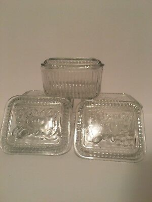 Vintage Federal Glass Oblong Refrigerator Dish Clear Ribbed Fruit Embossed 8Pcs