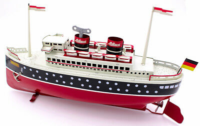 Schuco Blechdampfer Tin plate Wind Up Steamship Boat Schuco Queen I w/ Box