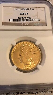 1907 $10 Gold Indian No Motto MS62 NGC