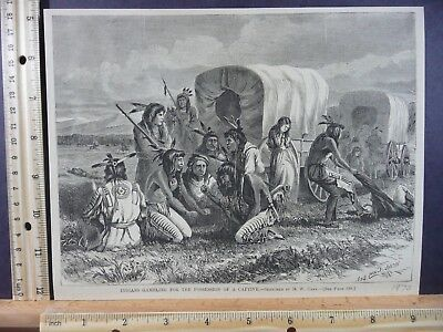 Rare Antique Original VTG 1870 Indians Gambling For Captive Engraving Art Print