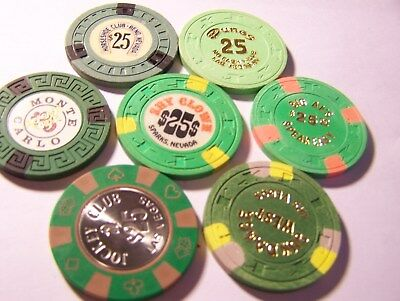 7-Nevada Card Room, $25 Poker Chips, See Narrative & Photo's. #a30