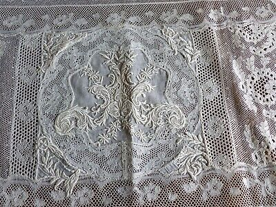 Exquisite  Antique Mixed Hand Made Lace French Whitework Embroidery Runner