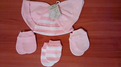 11 pcs BRAND NEW Cherokee Pink stripped Baby Girl Scratch Free Mittens pants hat