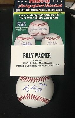 Billy Wagner TRISTAR CERTIFIED AUTOGRAPHED OML Baseball Astros inscribed 7X AS