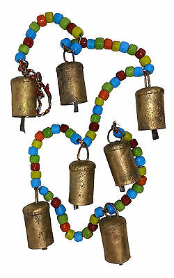 6 X Chime/Hanging 7 Cow Bells with Coloured Beads, Positive Energy & Prosperity