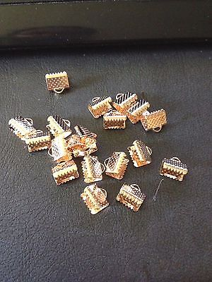 Rose Gold Necklace Ribbon Leather Cord 8mm End Crimp Clamp 20 Pack Aus seller