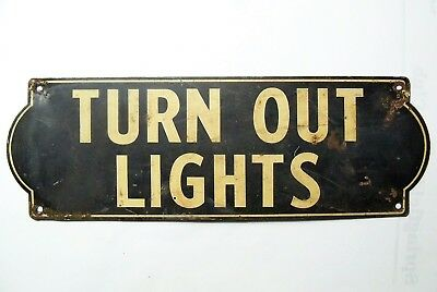 Vintage Small TURN OUT LIGHTS Tin Sign - Industrial Decor - Home