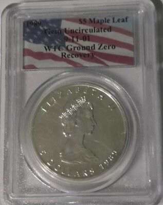 1989 $5 Canada silver maple leaf gem uncirculated 9/11 WTC ground zero recovery