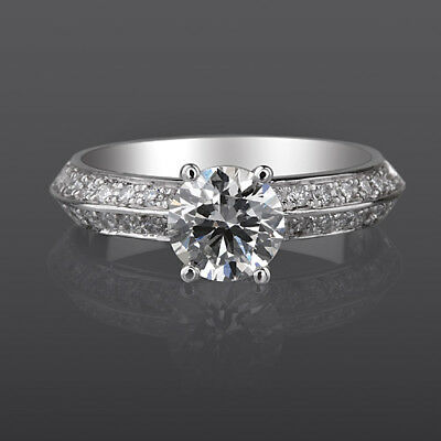Vs 1.75 Ct Brilliant Round Accented Diamond 18K White Gold Engagement Ring Nwt