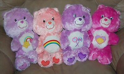 "Lot of 4 Floppy Fluffy 13"" Care Bears Shine Bright Best Friend"