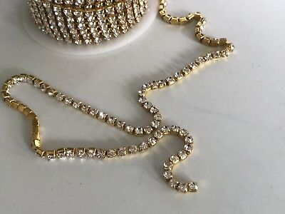 1 Metre Gold Clear Crystal Rhinestone Encased in Gold Metal Chain Trim 3mm