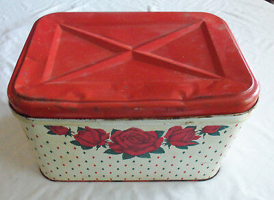 """Vintage Metal Bread Box White Red Roses & Green NC Color Ware Hinged Lid 13 1/2"""""""