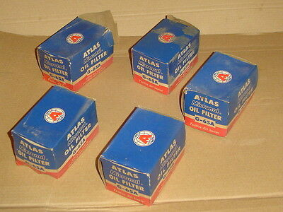 Lot of 5 vintage era Atlas Oil Filter G-65A for NOS Unused