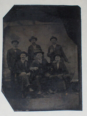 Antique 6th Plate Tintype Photo Old West Cowboy Outlaw Gang or Lawmen Posse