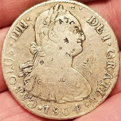 1804 LIMAE JP SILVER 8 REALES Coin from COLONIAL PERU CAROLUS IIII DEI GRATIA