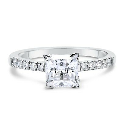 1.50 Ct Princess D/si1 Diamond Solitaire Engagement Ring 14K White Gold Enhanced