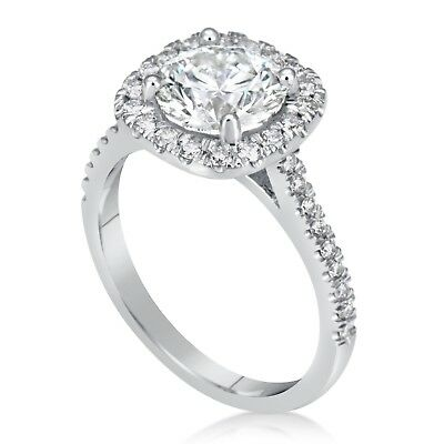 2.50 Ct Round Cut D/si1 Diamond Halo Engagement Ring Enhanced 14K White Gold