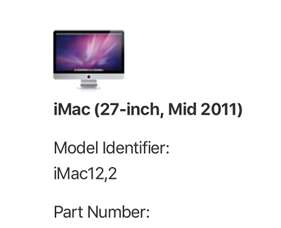 """Imac 27"""" mid 2011 FOR PARTS only"""