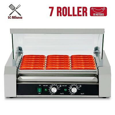 Commercial 18 Hot Dog Roller Grill Cooker Machine Stainless Steel  W/Cover New