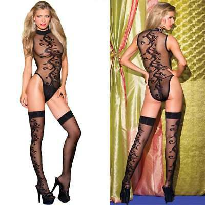 US Stock Turtleneck Mesh Sheer Teddy Lingerie Bodysuit Sleepwear with Stockings