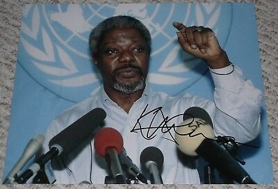 KOFI ANNAN SIGNED AUTOGRAPHED UNITED NATIONS UN 11x14  PHOTO EXACT PROOF