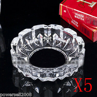 5X Small Elegant Transparent Shiny Crystal Glass Household Hotel Use Ashtray NN