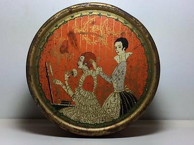 Three Flowers Dusting Powder Richard Hudnut Art Deco Litho Tin