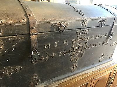 Antique Trunk Chest Travel Wood European Staten Island Pick Wedding Bride Rare