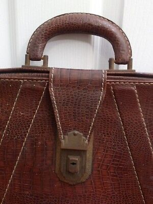 1940's Antique OLYMPIC Co. CROC EMBOSSED Briefcase Satchel lawyer case KANE,PENN