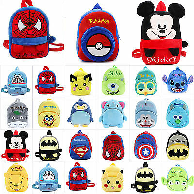 Kids Toddler Kindergarten Spider-man Pikachu Plush Doll School Bag Backpack Gift