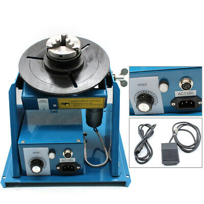 10KG 2-10RPM Light Duty Rotary Welding Positioner Turntable 3 Jaw Lathe Chuck US
