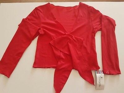 Energetiks Long Sleeve Front Tie Warm Up Top Red Size Adult Large/XL BNWT