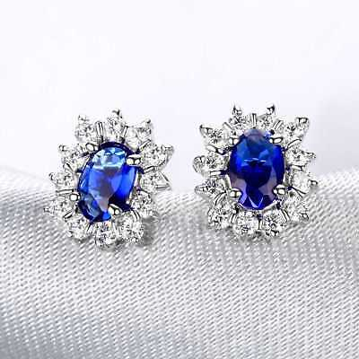 L156 Handmade 2.20ct Natural Sapphire 14k White Gold Diamond Earring 4*6mm/2P