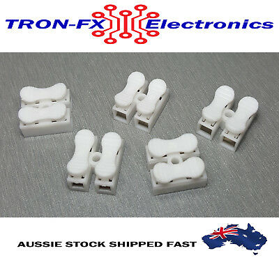 2pin Spring Connector wire Terminal Block 2 Way Pack of 5